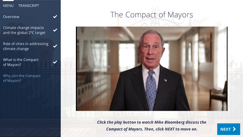 A screenshot from Module 1: Introduction to the Compact of Mayors.
